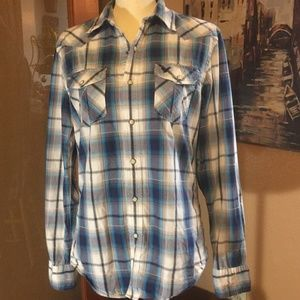 AE Blue plaid western pearl snap button shirt